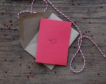 Heart Letterpress Mini Card