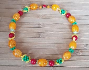 Fruit Salad Necklace, 1950s necklace, Lucite necklace, fruit necklace, Carmen Miranda, kitsch necklace, vintage necklace ,