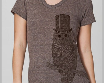 Womens Owl with Top Hat Tshirt Women's owl T Shirt American Apparel snow owl Tee eco T-shirt S, M, L, XL 8 COLORS