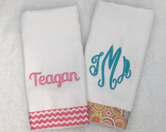 Personalized monogrammed burp cloth set pinkblue aqua teal - set of 2 -Boutique Baby Girl Gift Baby Shower Gift Boutique Burp cloths
