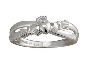 Sterling Silver Claddagh Ladies Kiss Ring