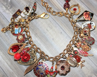 Vintage Red & Gold Charm Bracelet Hearts Red Rhinestones  J150