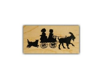 CHILDREN in GOAT CART sm silhouette Mounted rubber stamp barnyard animal, summer fun, farm, dog, Victorian style, Sweet Grass Stamps No.1
