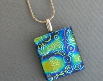 Small Fused Glass Pendant, Blue and Green Glass Pendant, Dichroic Pendant,  Glass Slide - Twilight Glass Pendant