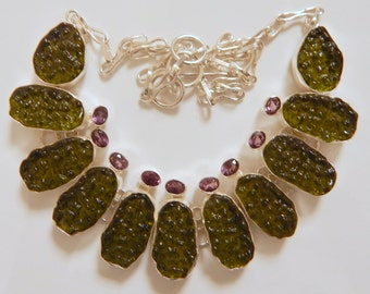 Awesome Czech Moldavite & Amethyst Designer 925 Silver Necklace 80 Grams Free Shipping