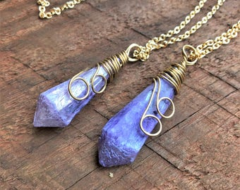 Rough Raw Purple Natural Titanium Aura Quartz Necklace Gold Wire Wrapped Titanium Quartz Crystal Point Charms Pendant Healing Crystal