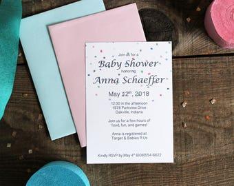 shower de bébé invite à pois confetti neutre bébé douche pastel rose vert bleu - 10 invite