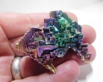 Beautiful, large bismuth crystal, bismuth, metal crystal, wicca, pagan, reiki, healing crystal, crystal healing, altar stone