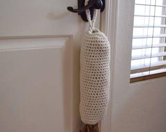 Plastic bag holder crochet kitchen organizer hanging bag dispenser grocery bag holder reusable housewarming gift modern home decor off white