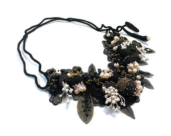 Black Lace Necklace. Pearls Felted Wool Necklace. Silk Cocoons Felt Jewelry. Semiprecious Beads Necklace. Statement Felted Necklace. Fantasy