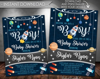 Outer Space Baby Shower Invitation, Planet Baby Shower Invitation, Solar System, It's a Boy, Instant Download, Printable #586