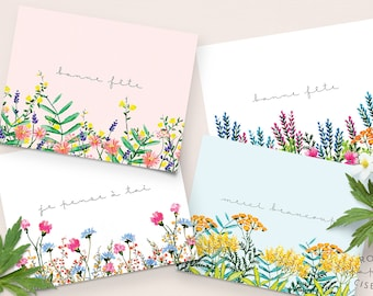 Set of 4 greeting cards / Happy Birthday card, Thank you card, Thinking of you card, All occasion card, Flower illustrations, Gift set
