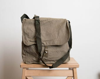 Military Canvas Bag, Vintage Army Green Messenger Bag, Unused Bag, Army, St Patrick Ireland Luck, Man, Summer, Graduation mb108