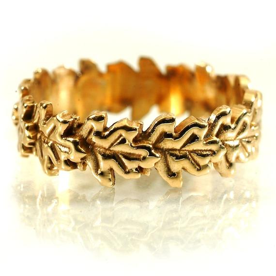 Gold Stackable Ring Flowing Oak Leaf Art Nouveau Design in 10K 14K 18K or Palladium, Made in Your Size Cr-5040