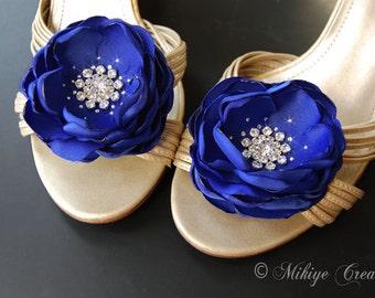 Wedding Hair Flowers, Shoe Clips, Sash Flowers, Sash Accessory 2 Piece Set - Royal Blue Petals