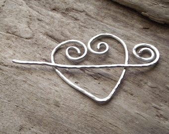 "Aluminum Heart Spiral Stick Shawl Pin Scarf Pin- Wire Hammered Silver -""Cupid's Arrow'"
