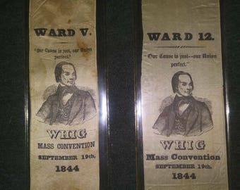 2 1844 Whig Ribbons