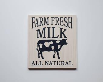 Farmhouse kitchen sign, farm fresh milk sign, cow kitchen decor, kitchen sign, rustic kitchen decor