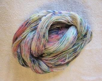 "100% Alpaca -Speckle Dyed by Hand - ""Springtime""  - 3 Ply DK Weight Yarn - 250 Yds - 12-14 WPI"