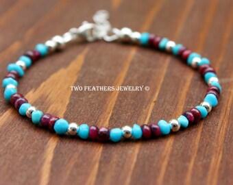 Ruby Bracelet - Sleeping Beauty Turquoise Bracelet - Gemstone Bracelet - July Birthstone December Birthstone Bracelet - Two Feathers Jewelry