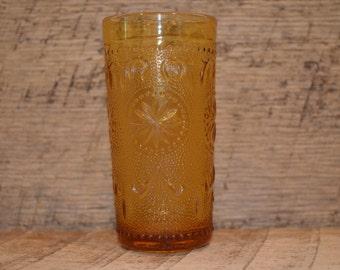 Vintage Amber Juice Glass, Amber Glass, Vintage Juice Glass, Amber Starburst Pattern ,