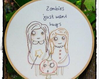 Halloween ZOMBIES embroidery Pattern PDF - just want hugs girls  art Pumpkin