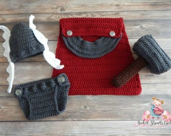 God of thunder costume, Crochet Thor photo prop, Newborn photo outfit, 0-12 Month outfit, Norse god outfit, Baby costume, Baby photo prop