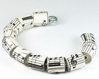 Paper Bead Jewelry- Upcycled Vintage Sheet Music Paper Bead Cuff Bracelet, Music Jewelry, Music Gift, Paper Jewelry by Tanith Rohe