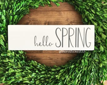 "hello SPRING Wooden Sign (12"" x 3.5"")"