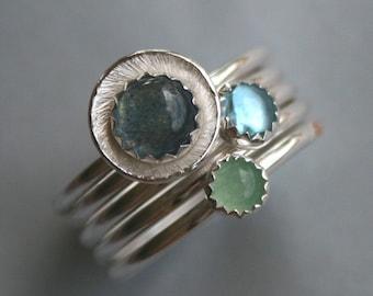 Water Gemstone Sterling Silver Rings Stack of 5