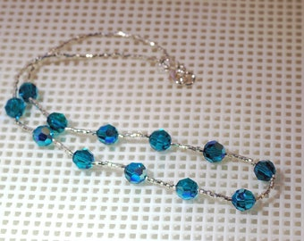 "Swarovski Crystal Necklace - Shown in Blue Zircon AB - Several Colors Available - 16"" Long plus Extension"
