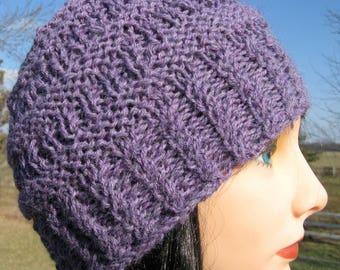 Alpaca Hat, Purple Knit Hat for Men or Women, Handmade Beanie, Winter Hat