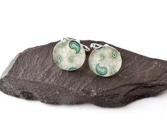 Green Paisley Cufflinks, Green Resin Cufflinks, Paisley Jewellery, Green Cufflinks, Photo Cufflinks, Men's Jewellery, UK Seller
