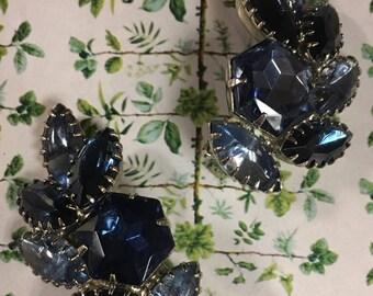 Vintage blue cluster rhinestone earrings