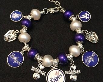 LA Dodgers Silver Snake Chain Charm Bracelet.