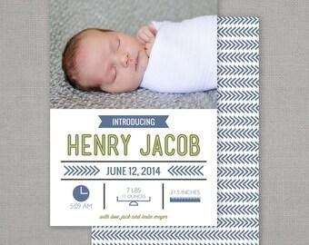 Photo Birth Announcement // Infographic Baby // Birth Stats