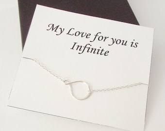 Eternity Infinity Sterling Silver Necklace ~~Personalized Jewelry Gift Card for Friend, Best Friend, Sister, Bridal Party, Daughter, Mom