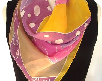 Hand Painted Silk Scarf -  Modern Abstract in Gold, Pink, Lavender, Caramel, Plum - 24 x 24 inches