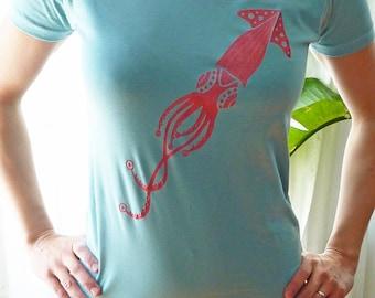 SALE - Pink Squid Aqua Womens T-Shirt XL only