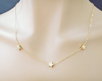 Triple, Star, Necklace, Mamma Mia, Necklace, Gold filled, Chain, Necklace, Birthday, Best friends, Mom, Sister, Gift, Accessory, Jewelry