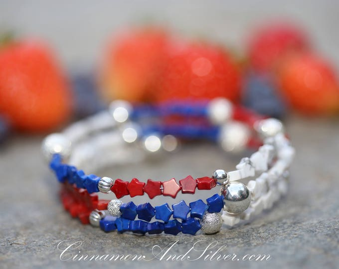 July 4th Red, White, and Blue Star Spangled Beaded Adjustable Memory Wire Bangle Bracelet, Patriotic Colors Coil Wrap Seed Bead Bracelet