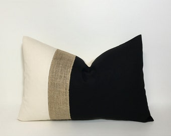 PILLOW, PILLOW COVER. Lumbar pillow cover. Colorblock neutrals & burlap pillow cover.  Black and natural with burlap accent. throw pillow