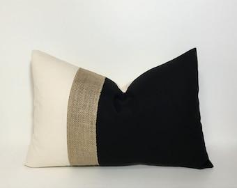 PILLOW, PILLOW COVER. Lumbar pillow cover. Colorblock neutrals & burlap pillow cover.  Black and natural with burlap accent. throw pillow