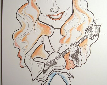 Bonnie Riatt Rock Portrait Rock and Roll Caricature Music Art by Leslie Mehl