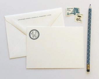 Anderson Monogram Professional Stationery Notecards | Flat A6 Stationery Flat Notes with Blank Envelopes | Printed by Darby Cards Collective
