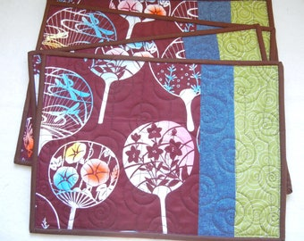 Quilted placemats - Fan (04) - set of 4