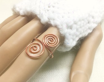 Copper ring, size 7, double spirals