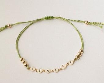 Stoner silk cord bracelet - adjustable  bracelet  - stoner gift - silk pot bracelet - mini leaf bracelet- rose gold - gold - silver