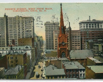 Fourth Street Panorama Cincinnati Ohio 1913 postcard