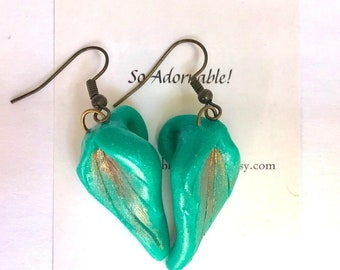 Leaf shaped earrings - Teal and copper earrings